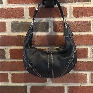 Coach Small Black Leather Hobo Bag